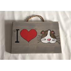 Handgefertigte Holzschild -I LOVE Meerschweinchen